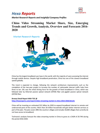 China Video Streaming Market Share, Growth and Overview 2016-2020: Hexa Reports
