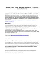 Business intelligence Strategic Focus Report: Technology and market trends