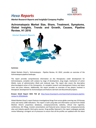 Achromatopsia Market Pipeline Review, H1 2016