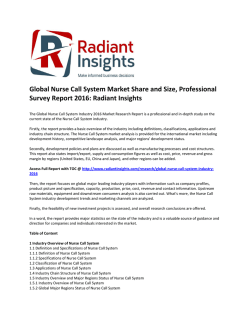 Global Nurse Call System Market Trends, Growth, Analysis and Professional Survey Report 2016: Radiant Insights