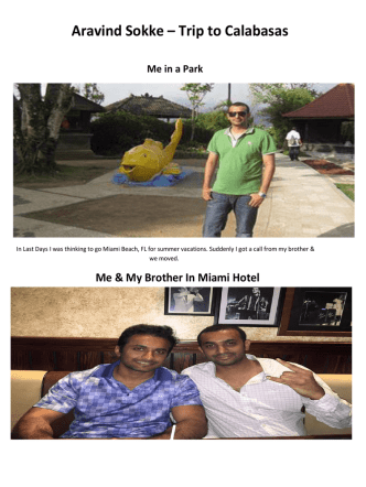 Aravind Umapathy Sokke – Trip to Calabasas