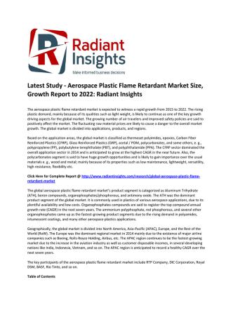 Aerospace Plastic Flame Retardant Market Size, Competitive Trends Report: Radiant Insights