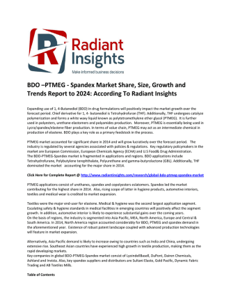 BDO –PTMEG - Spandex Market Size And Share Report, 2022: Radiant Insights