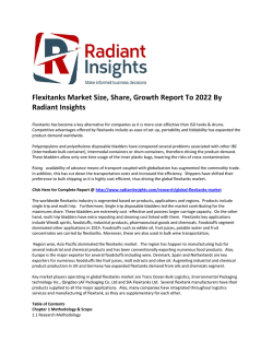 Flexitanks Market 2022: Application Analysis, Competitive Insights And Forecasts Report, 2022:  Radiant Insights