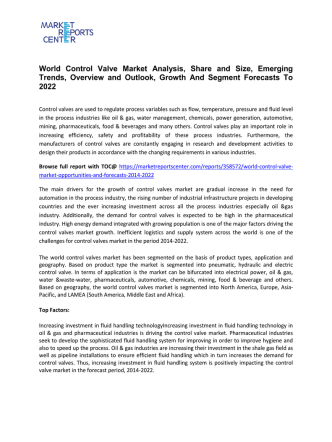 Control Valve Market Size, Share, Trends and Growth, Analysis and Professional Survey Report 2016