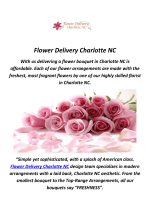 Call 980-238-3221 And Get Best Flower Delivery in Charlotte, NC
