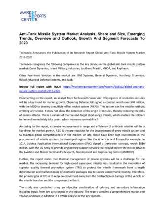 Anti-Tank Missile System Market Trends, Size, Analysis and Overview