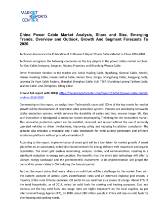 China Power Cable Market Trends Growth, Analysis and Forecast To 2020