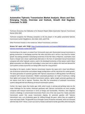 Automotive Tiptronic Transmission Market Share, Size, Analysis and Forecasts 2016-2020