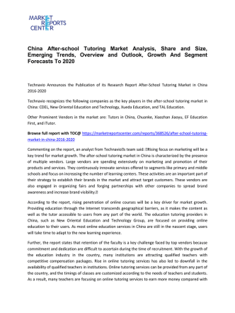 After-school Tutoring Market Share, Size, Analysis and Forecasts 2016-2020
