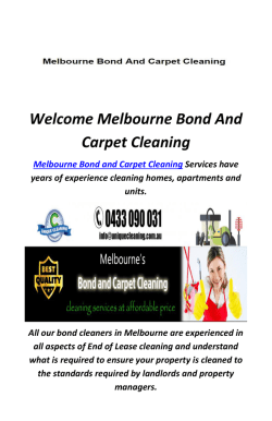 Bond Cleaning in Melbourne CBD : Melbourne Bond And Carpet Cleaning