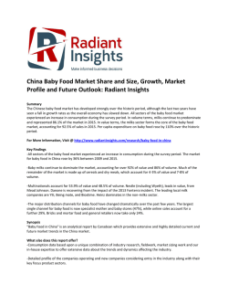 China Baby Food Market Share and Size, Professional Survey Report 2016: Radiant Insights