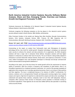 North America Industrial Control Systems Security Software Market Trends, Size, Analysis and Forecast To 2020