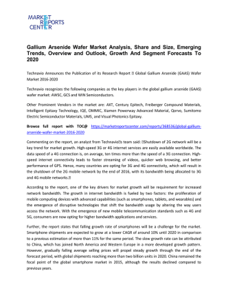 Gallium Arsenide Wafer Market Share, Size, Trends and Research Report 2016