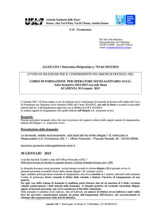 Bando per le docenze OSS Siena 2015 -