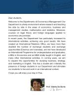 Dear students, Welcome to the Dipartimento di Economia e