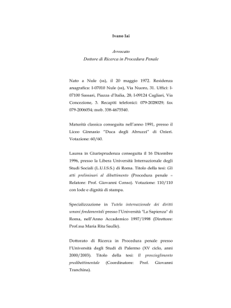 Curriculum Avv. Ivano Iai - Gazzetta Amministrativa
