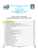 Comunicato Ufficiale N° 22 del 22/01/2015