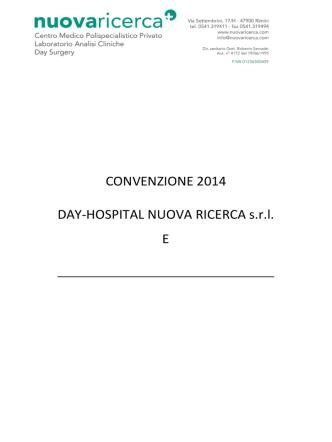 CONVENZIONE 2014 DAY-HOSPITAL NUOVA RICERCA s.r.l. E