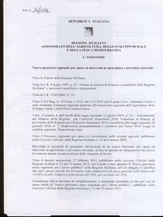 D.A. approvazione prezzario agricoltura 2015