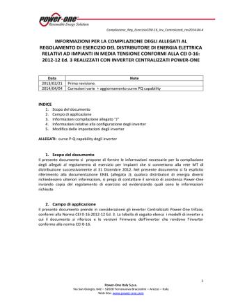 Compilazione Regolamento di Esercizio CEI 0-16