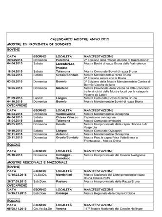 calendario manifestazioni 2015