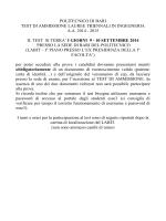 9-10 settembre 2014 - Politecnico di Bari