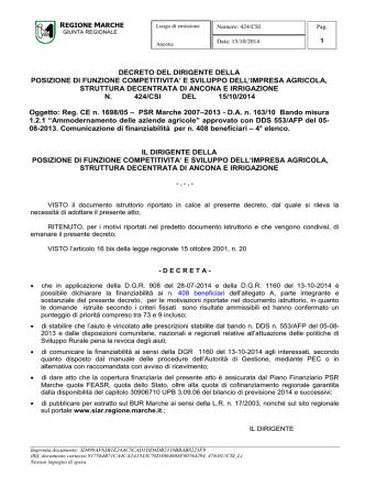 D.D.P.F. 424/CSI del 15/10/2014.