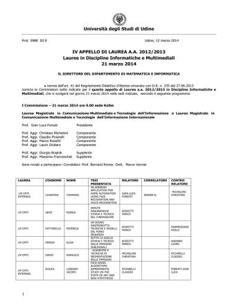 Commissioni Laureandi CMTI INF IV APPELLO MARZO 2014