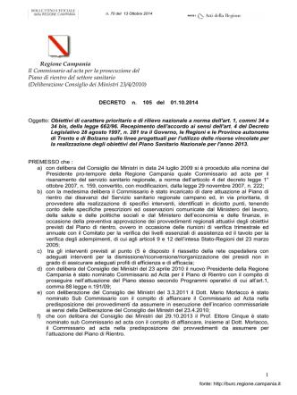 1 Regione Campania Il Commissario ad acta per la