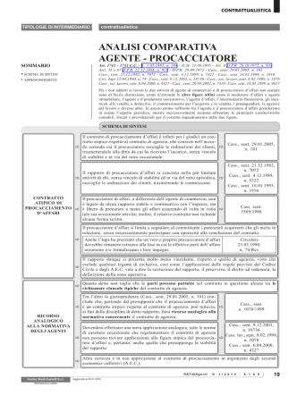 ANALISI COMPARATIVA AGENTE - PROCACCIATORE