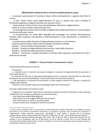 Allegato 2 1 La proposta sperimentale di tutoring in classe utilizza