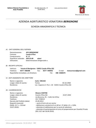 AZIENDA AGRITURISTICO VENATORIA BERIGNONE