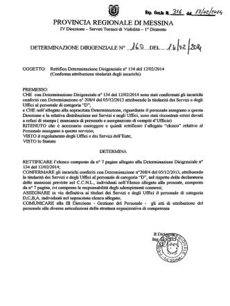 D.D. 316 N. 160 - Provincia Regionale di Messina