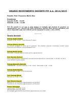 ORARIO RICEVIMENTO DOCENTI FIT A.A. 2014/2015