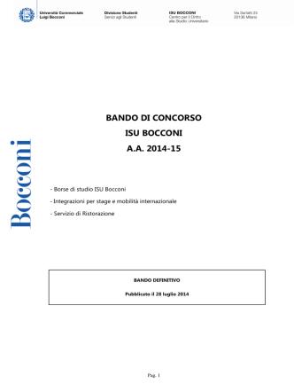 BANDO DI CONCORSO ISU BOCCONI A.A. 2014-15