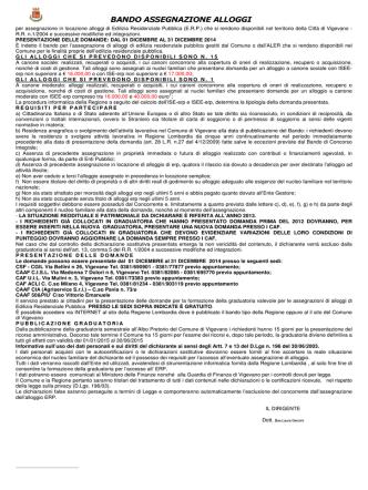 bando 14- erp - Comune di Vigevano