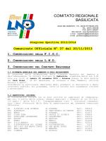 Comunicato Ufficiale n. 37 del 20/11/2013