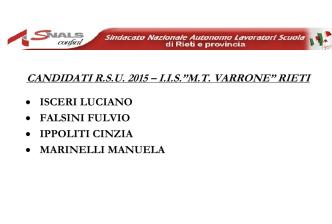 """CANDIDATI R.S.U. 2015 – I.I.S.""""M.T. VARRONE"""" RIETI"""