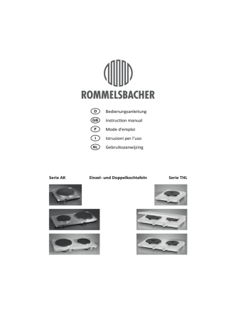 Bedienungsanleitung - ROMMELSBACHER ElektroHausgeräte GmbH