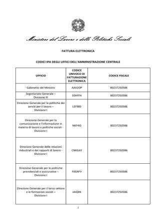 Codici IPA per fatturazione elettronica Ministero del Lavoro e delle