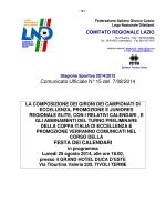 Stagione Sportiva 2014/2015 Comunicato Ufficiale N° 15 del 7/08