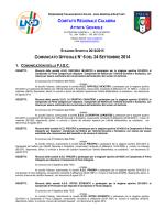 Comunicato Ufficiale n. 6 del 24 Settembre 2014