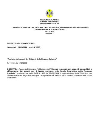 Decreto n.11612 del 01.10.2014
