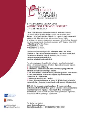 Audizioni lirica 2015 - Luglio Musicale Trapanese