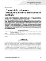 L`autotutela interna e l`autotutela esterna nei contratti pubblici