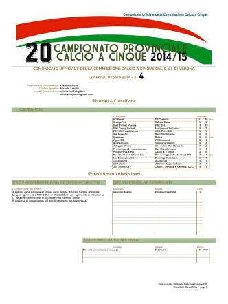 Comunicato 04 del 20/10/2014