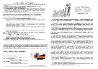 Bollettino parrocchiale 18/01/2015
