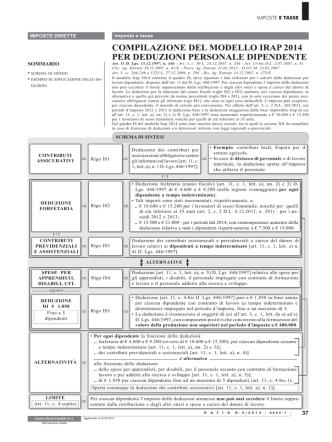 compilazione del modello irap 2014 per deduzioni personale