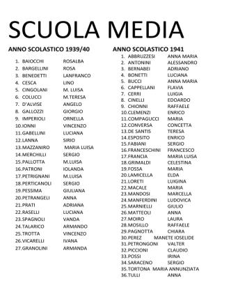 ANNO SCOLASTICO 1939/40 ANNO